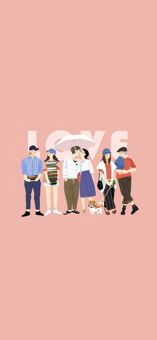 情侣 配对 插画 love