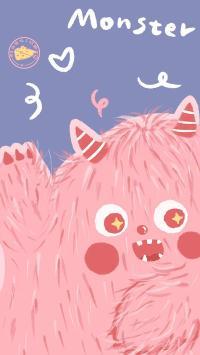 小怪兽 monster 粉 卡通 可爱