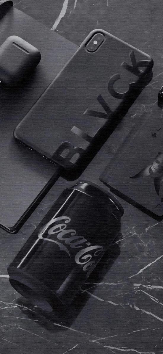 静物 可乐 手机 黑白