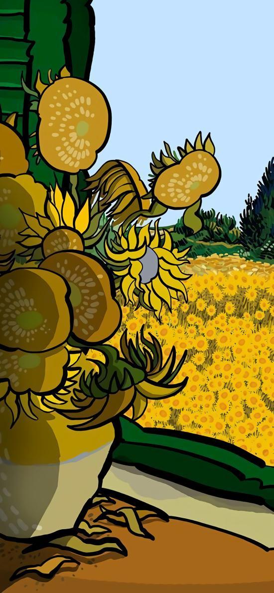 向日葵 梵高 黄色 绘画