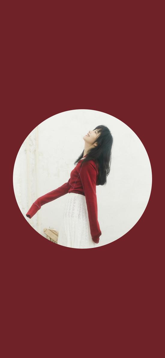 谭松韵 演员 明星 艺人 圆形 红色