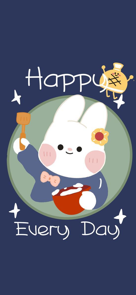 开心每一天 happy every day 兔子 蓝色