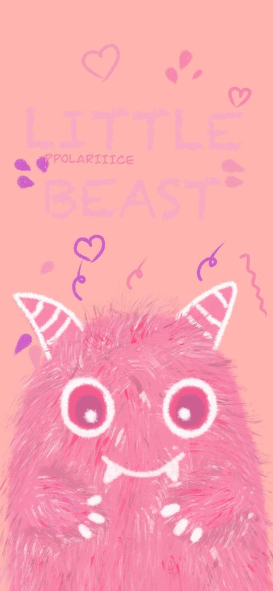 怪兽 粉色 可爱 牙齿