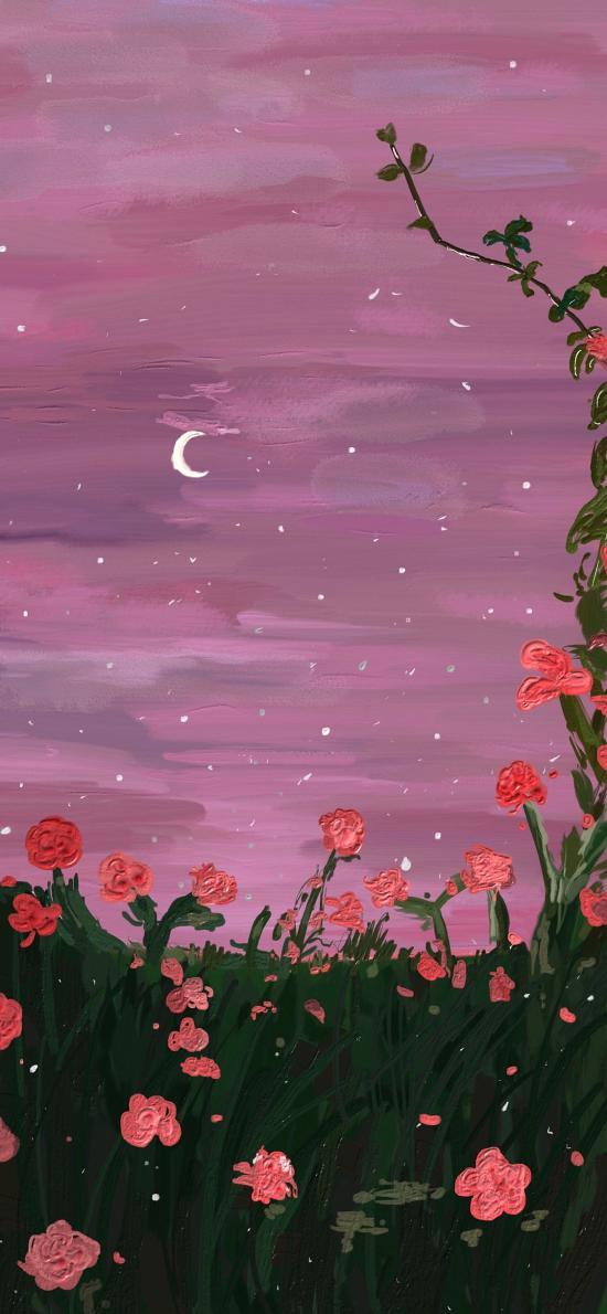 插画 夜景 鲜花 粉色 艺术