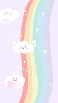 卡通 彩虹 云朵 happy