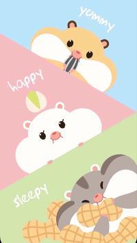 可爱 卡通 仓鼠 松鼠 happy yummy