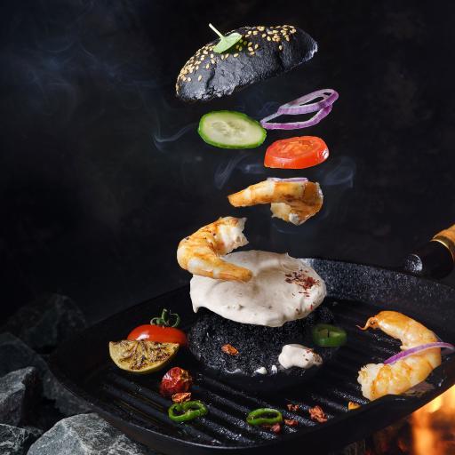 艺术 虾仁 蔬菜 汉堡
