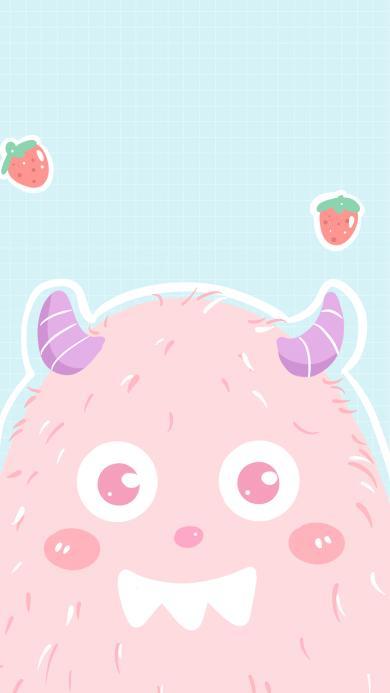 小怪兽 可爱 草莓 牙齿