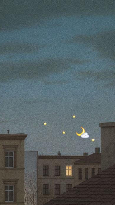 城市 夜景 卡通 星星 月亮