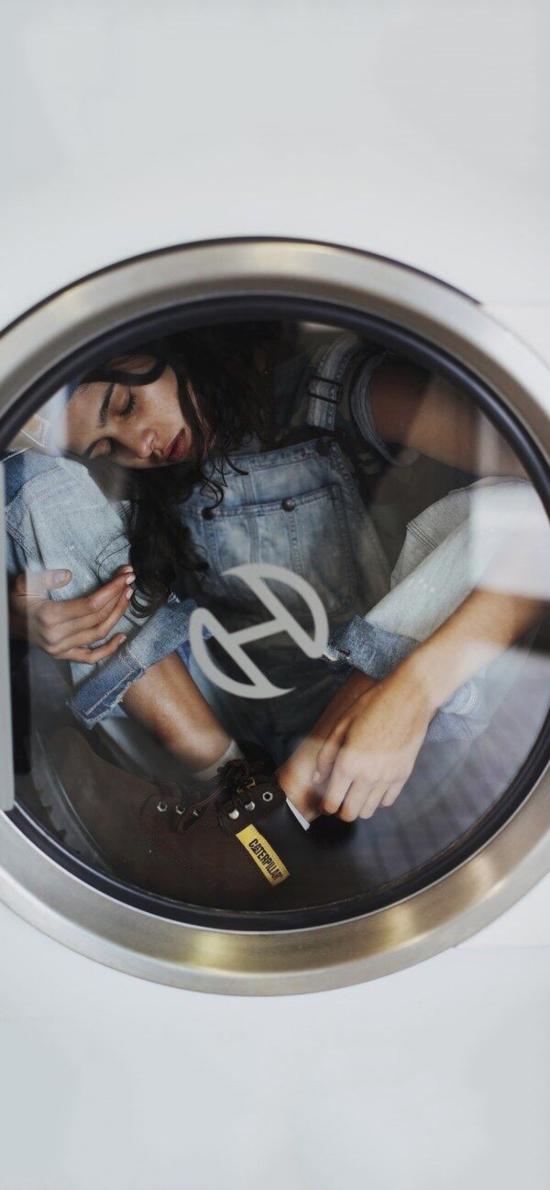 洗衣机 欧美 女孩 写真 创意