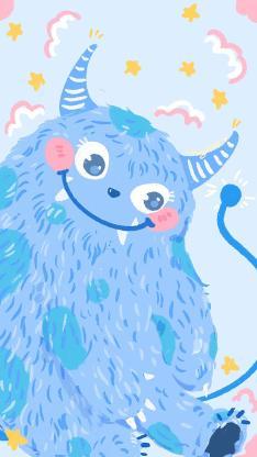 小怪兽 蓝 可爱 卡通