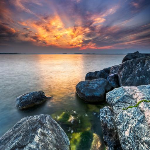 夕阳 云彩 岩石 海水