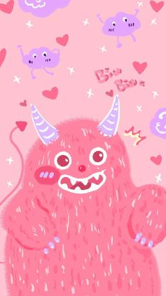 可爱 粉 biubiu 小怪兽