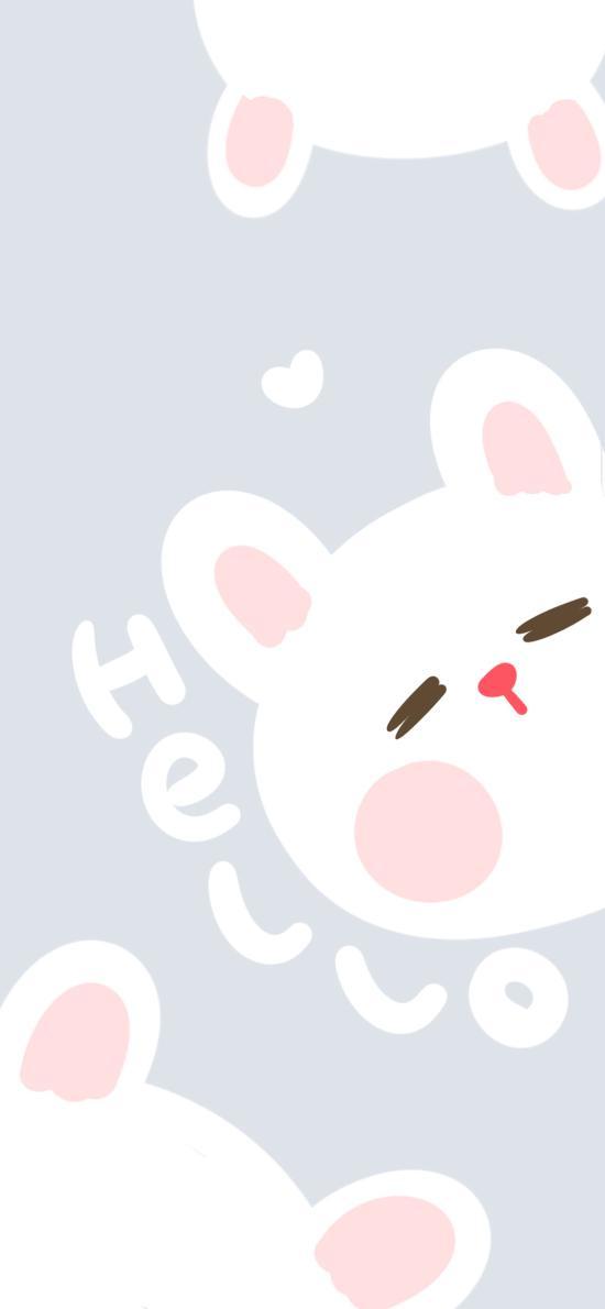 可爱 卡通 兔子 hello