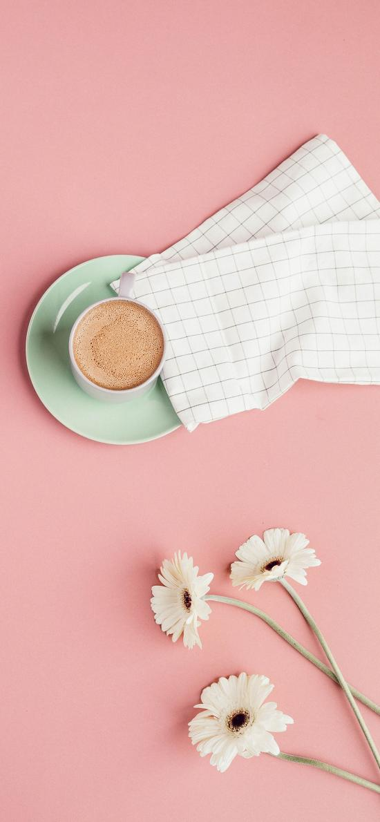 咖啡 雏菊 菊花 格子