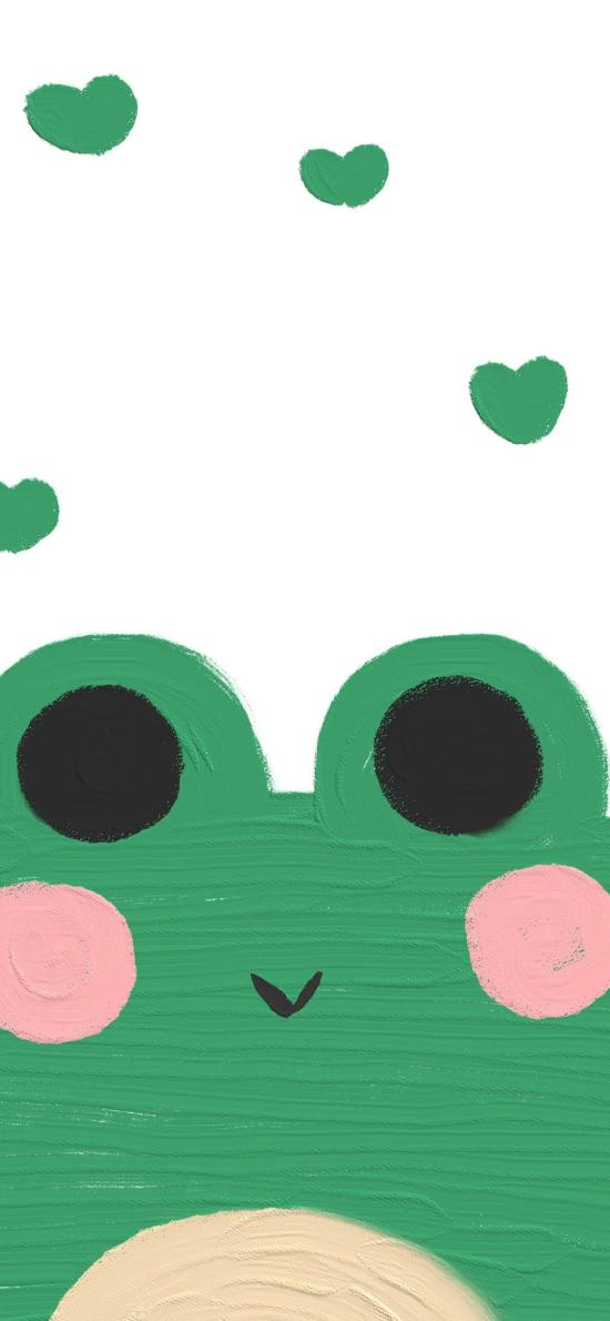 可爱 青蛙 彩绘 爱心