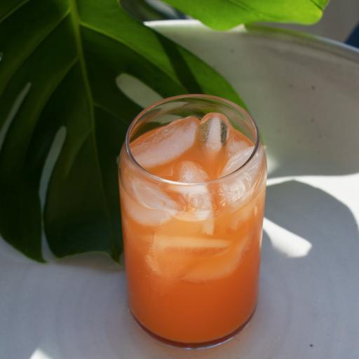 饮品 饮料 冰块 玻璃杯 龟背竹