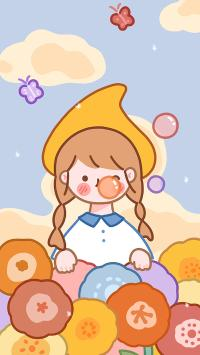 女孩 可爱 卡通 吹泡泡
