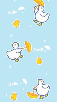 平铺 可爱 duck 雨伞 鸭子