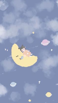 插画 蓝 月亮 女孩