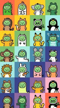 可爱 焦绿猫 百变 色彩