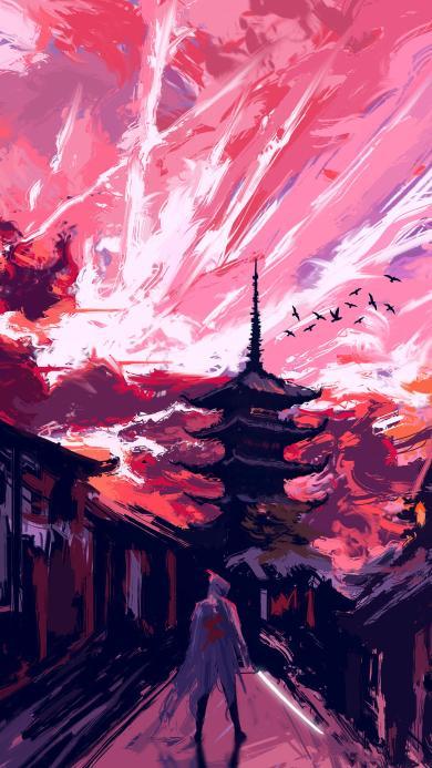 建筑 插画 夜景 色彩 艺术(取自站酷网:DAPEII)