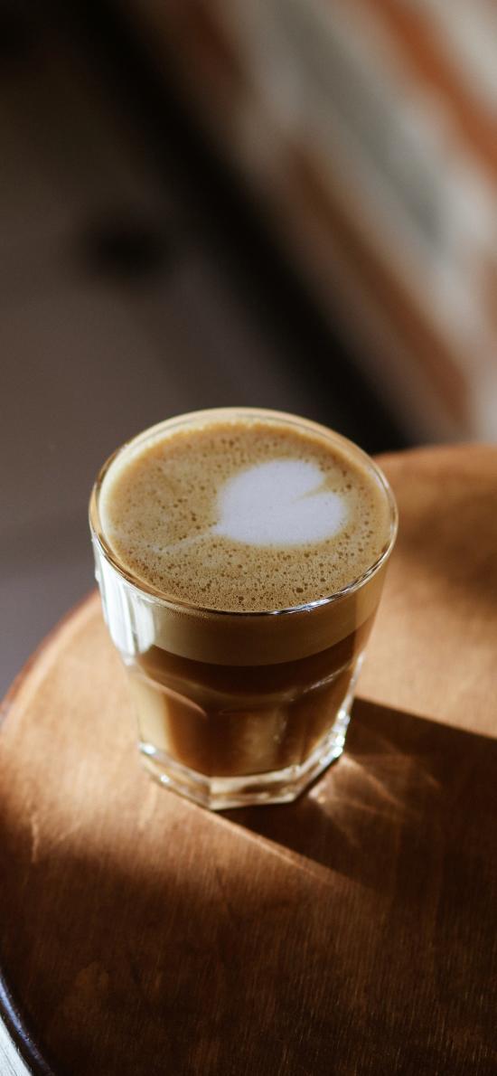 咖啡 泡沫 爱心 玻璃杯