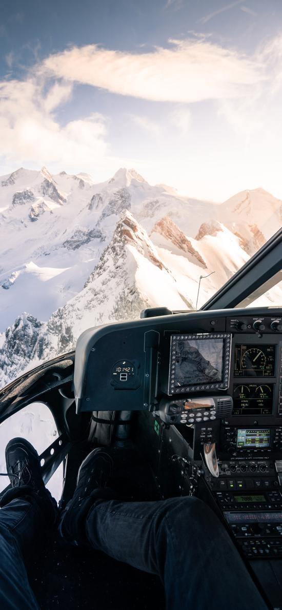 驾驶舱 直升机 雪山 航空 机舱