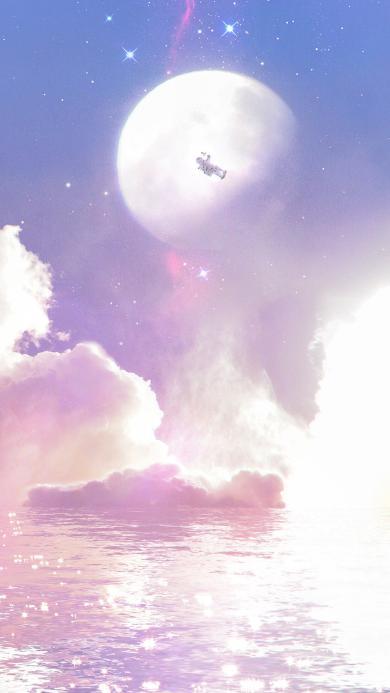 梦幻 星空 星星 月球 宇航员 水面 紫色