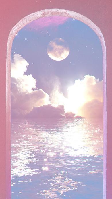 梦幻 水面 星空 紫色 唯美