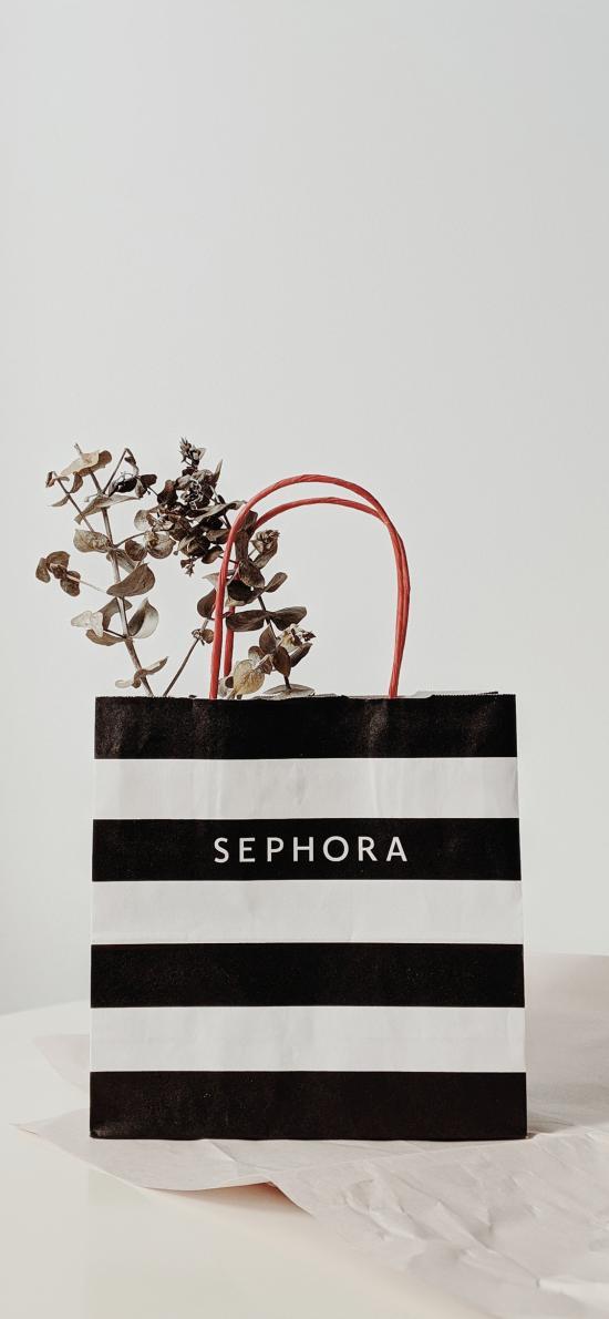 购物袋 纸袋 丝芙兰 枝叶