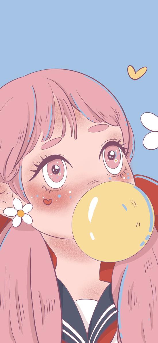 吹泡泡 插画 小女孩 爱心