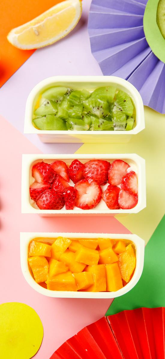甜品 水果 芒果 奇异果 草莓 色彩