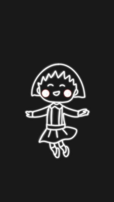 黑白 樱桃小丸子 可爱 跳跃