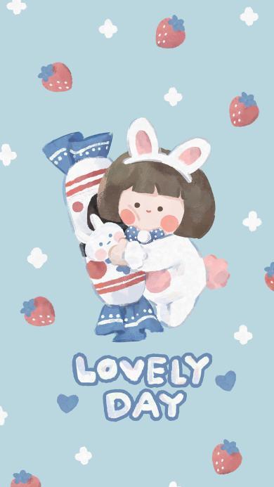 可爱 大白兔 女孩 lovelyday