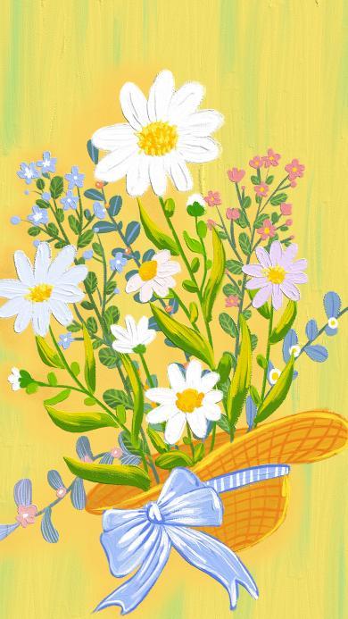 插画 插画 色彩 鲜花 花束