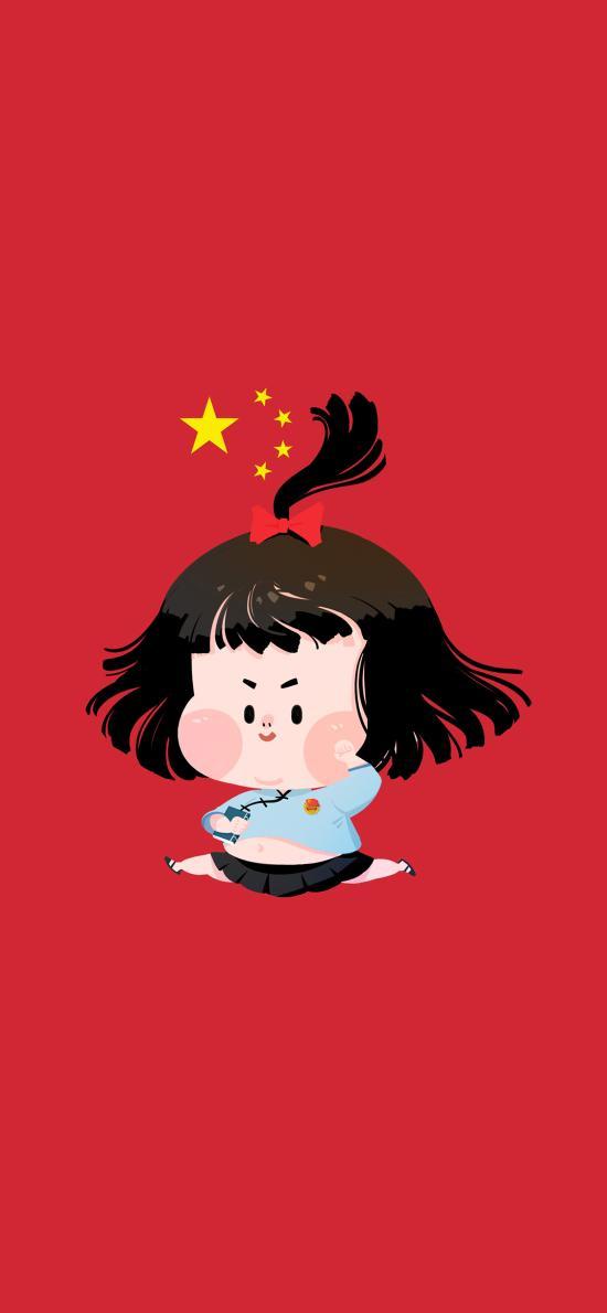 小女孩 可爱 胖嘟嘟 肚子 共产党 五星红旗 国旗 红色 宣誓
