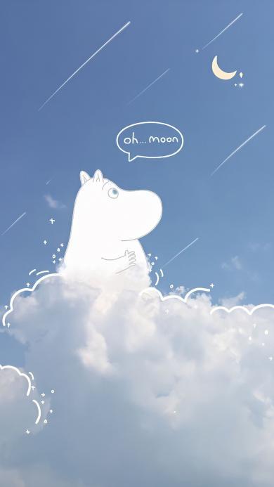云朵 月亮 绘画 可爱 插画