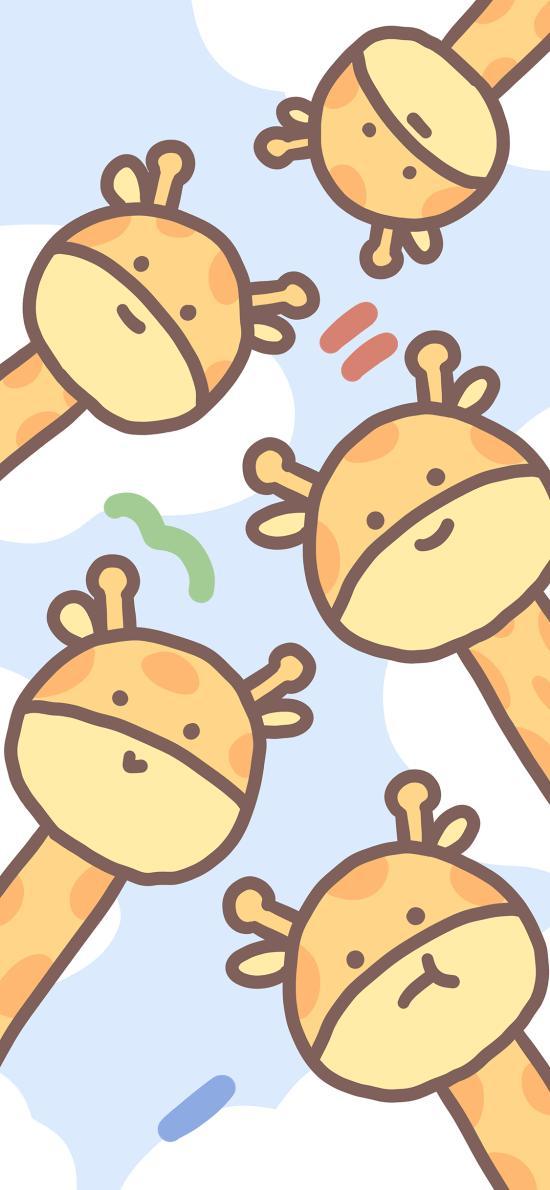 长颈鹿 平铺 可爱 卡通