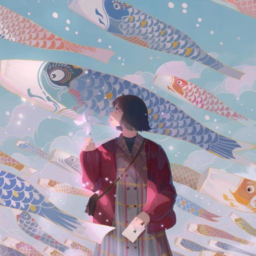女孩 插画 鲤鱼旗 风车 作者@MORNCOLOUR