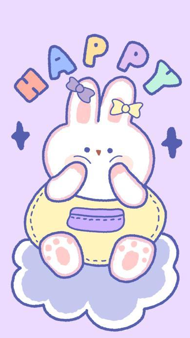 happy 兔子 可爱 卡通