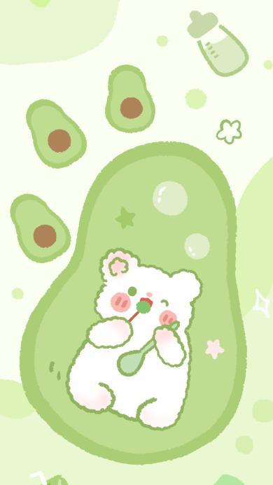 小熊 绿 牛油果 卡通 插画