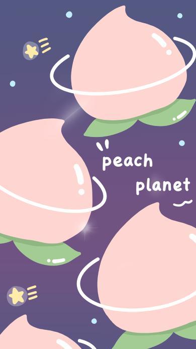 平铺 插画 桃子 peach