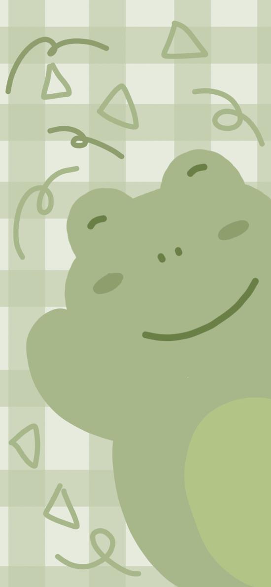 格子 背景 绿色 小青蛙