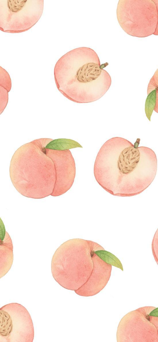 插图 桃子 粉色 平铺(取自微博:时光投影)