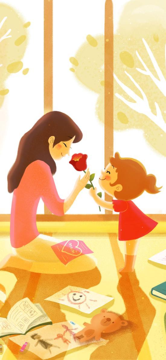 母亲节 插画 妈妈 母爱 母女 花