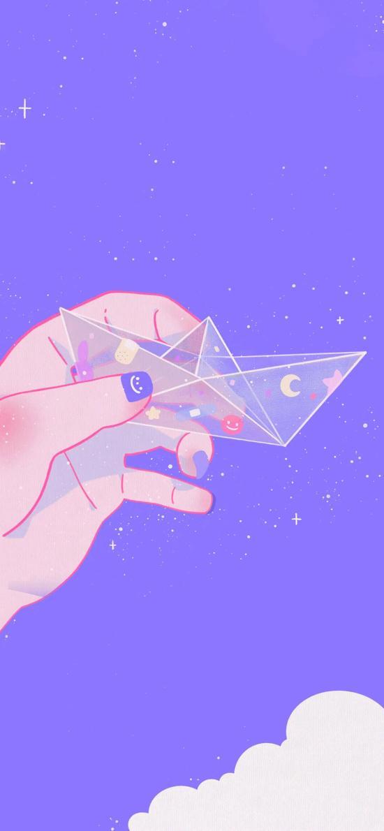 插图 紫色背景 小船 星河 梦幻
