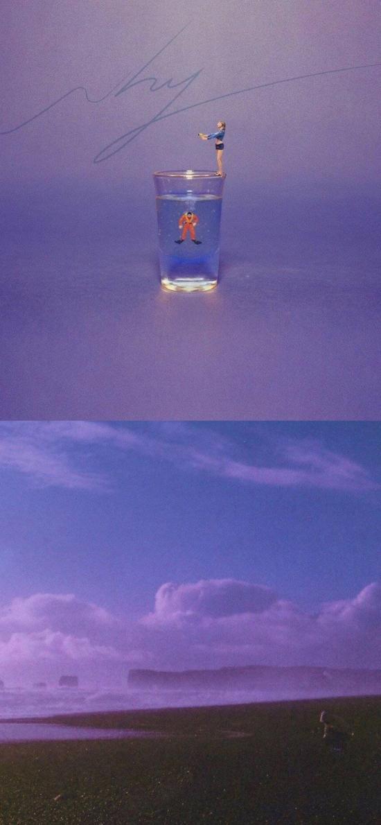 拼接 紫色 水杯 天空