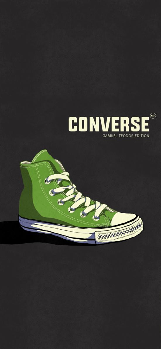 插图 品牌 鞋子 匡威 绿色