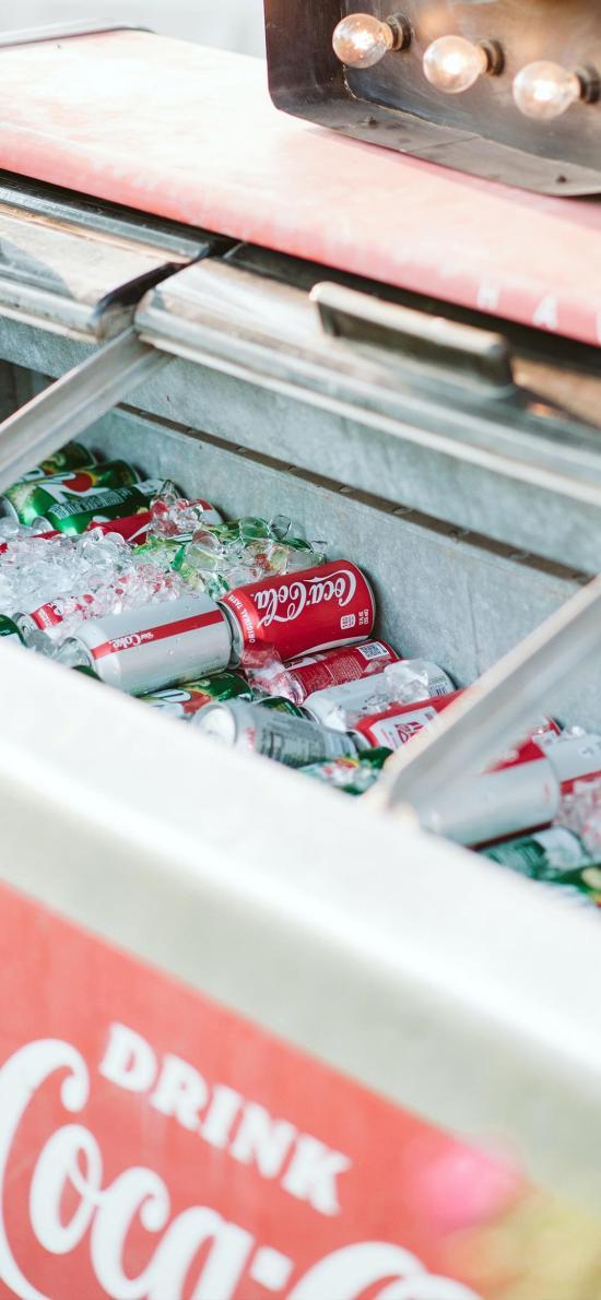 汽水 可口可乐 冰箱 冰块 夏日